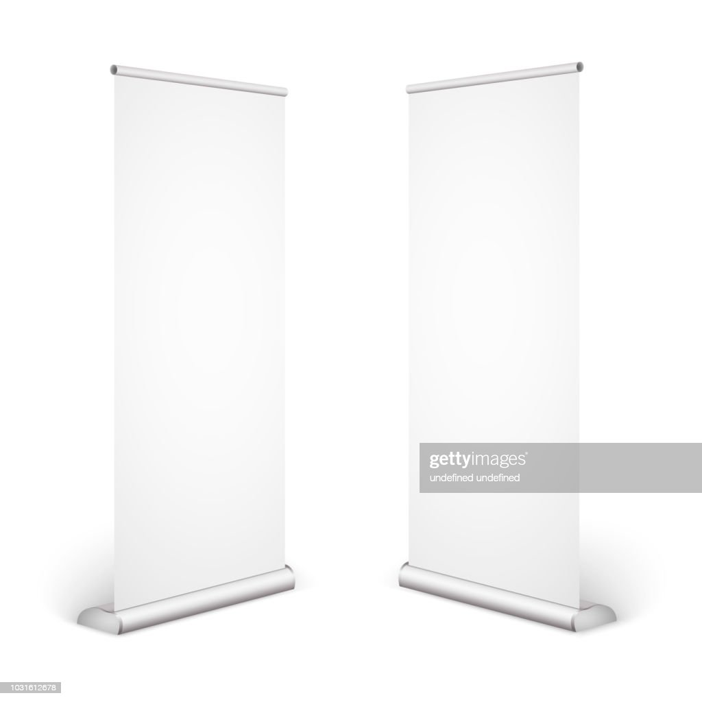 Roll up banner isolated on white background. Eps10 vector.
