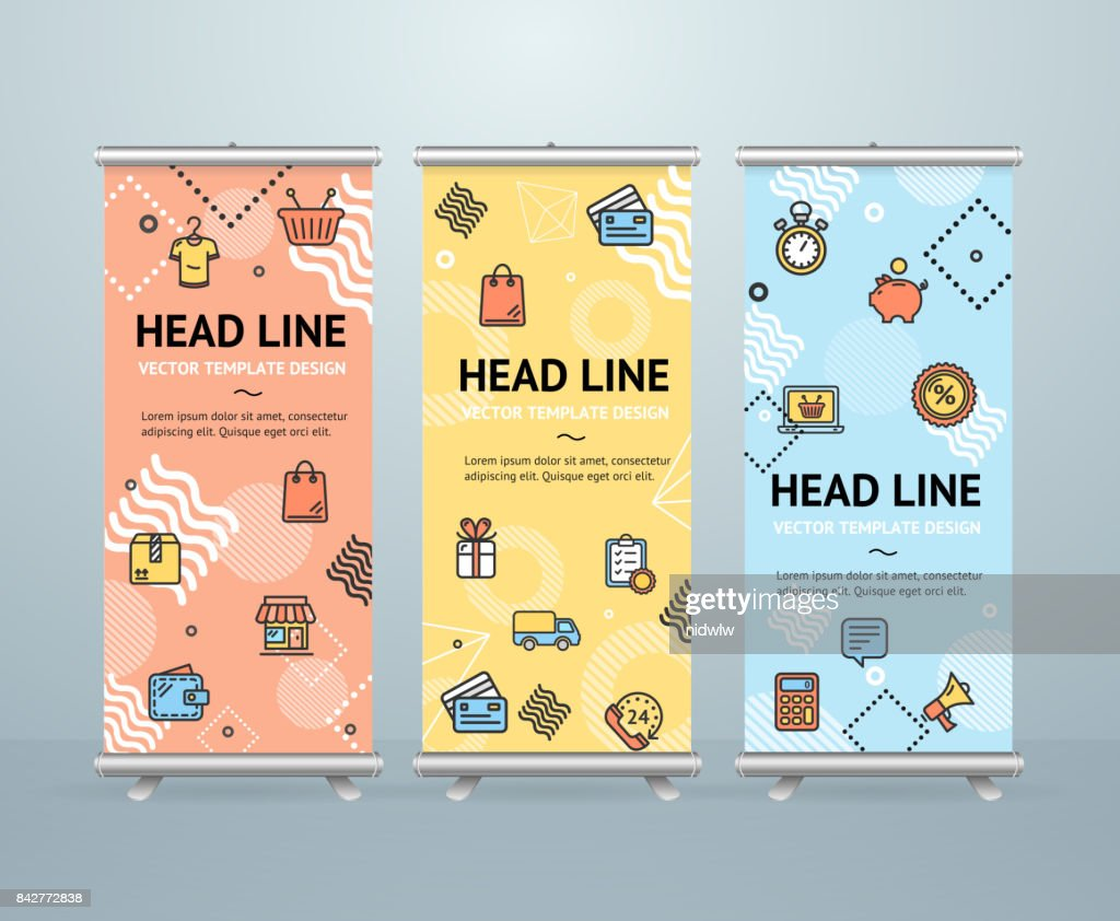 Roll Up Banner Stand Design Template Vector Vector Art | Getty Images