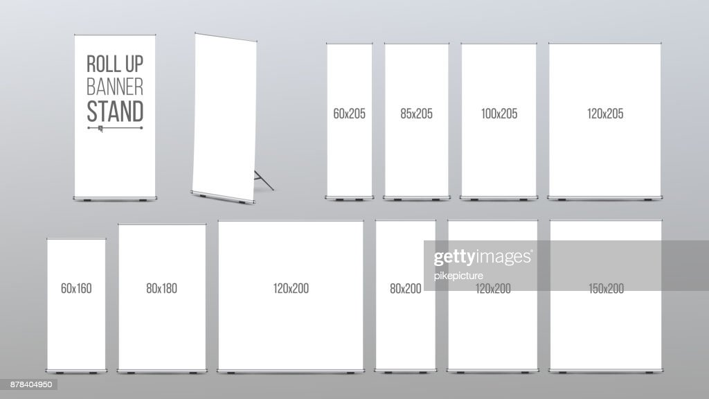 Roll Up Banner Stand Vector. Pop Up Flipchart For Promotional Presentation. Empty Template. Realistic Illustration