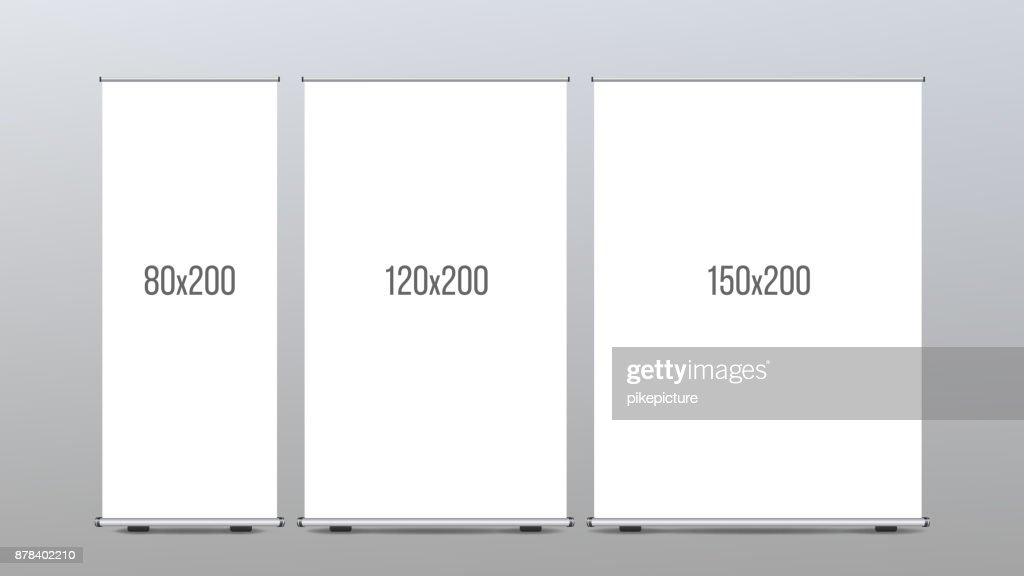 Roll Up Banner Stand Vector. Vertical Board Set For Trade Advertising Design. Corporate Business Roll Up. Empty Template