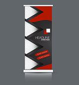 Roll up banner stand. Vertical information board design. Red and black color vector illustration.