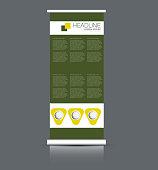 Roll up banner stand. Vertical information board design.