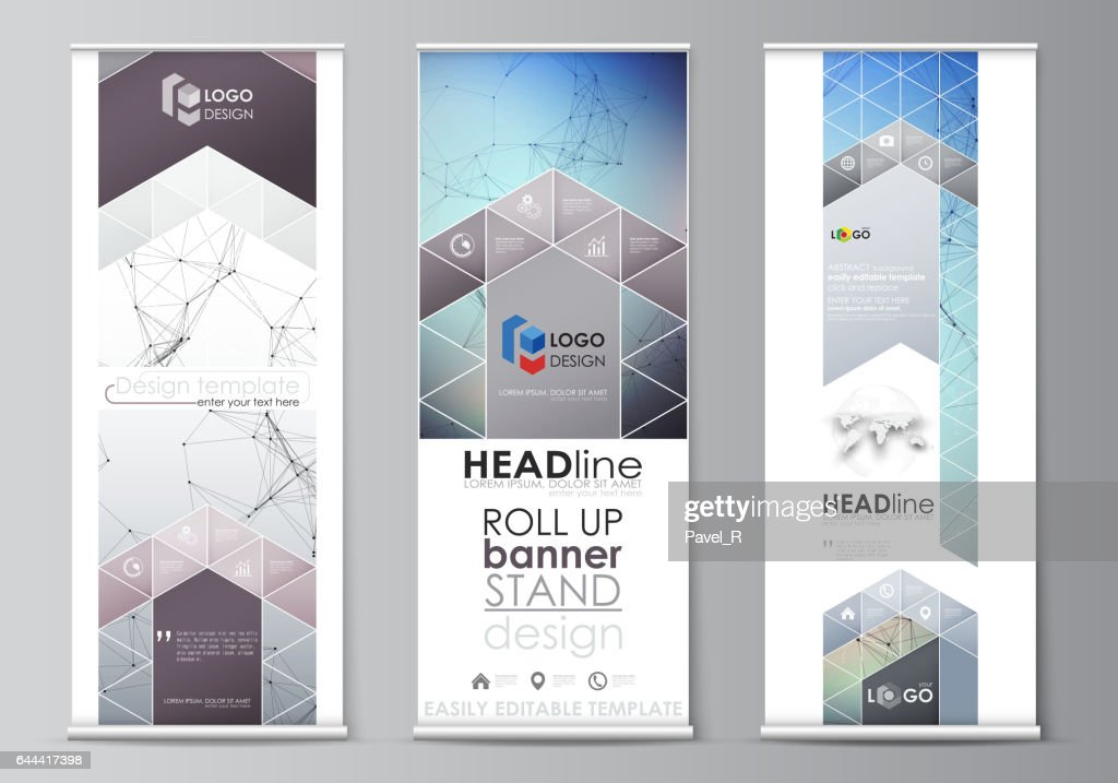 roll up banner stands abstract geometric design templates vertical