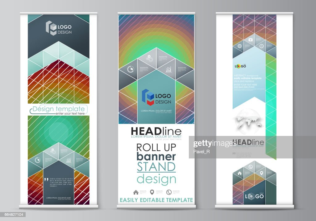 roll up banner stands abstract geometric style templates corporate
