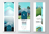 Roll up banner stands, flat design, abstract geometric templates, modern