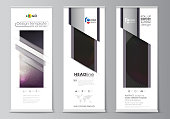 Roll up banner stands, flat design templates, business concept, corporate