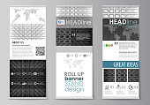 Roll up banner stands, flat design templates, geometric style, corporate vertical vector flyers, flag layouts. Abstract infinity background, 3d structure with rectangles forming illusion of depth