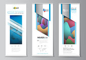 Roll up banner stands, flat geometric style templates, modern business concept, corporate vertical vector flyers, flag layouts. Colorful design pattern, shapes forming abstract beautiful background