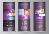 Roll up banner stands, flat style templates, abstract geometric modern business concept, corporate vertical vector flyers, flag layouts. Bright color colorful design, beautiful futuristic background