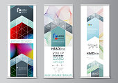 Roll up banner stands, flat style templates, modern business concept, corporate vertical vector flyers, flag layouts. Colorful design, overlapping shapes, waves forming abstract beautiful background
