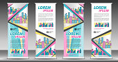 Roll up banner template, stand design, Pull up, display, advertisement, business flyer, poster, presentation, corporate, web banner layout, Pastel modern creative concept, city vector illustration