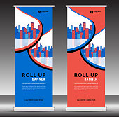 Roll up banner template, stand design, Pull up, display, advertisement, business flyer, poster, presentation, corporate, web banner layout, modern creative concept, city vector illustration