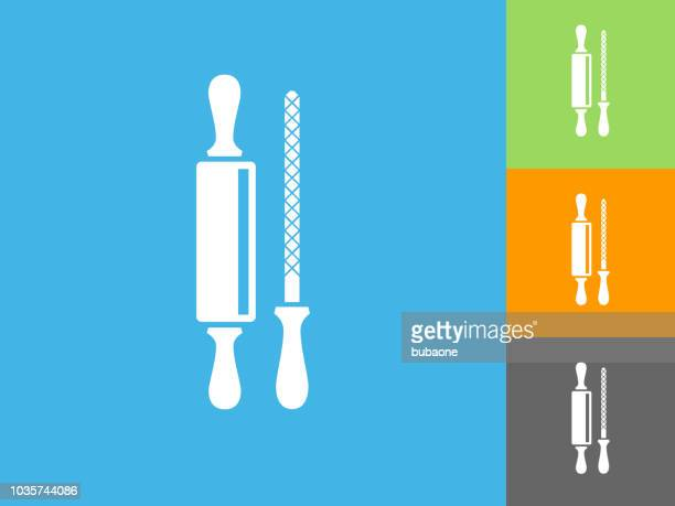 roller and sharpener flat icon on blue background - {{relatedsearchurl('county fair')}} stock illustrations, clip art, cartoons, & icons