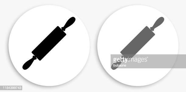 ilustrações, clipart, desenhos animados e ícones de ícone redondo preto e branco do rolo - rolo