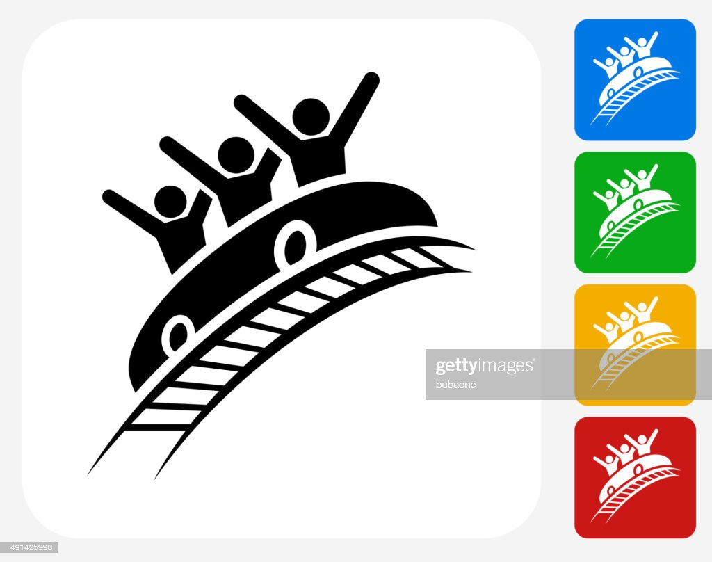 Roller Coaster Icon Flat Graphic Design