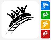 Roller Coaster Icon Flat Graphic Design