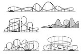 Roller coaster vector silhouettes. Rollercoaster or amusement park rollers isolated