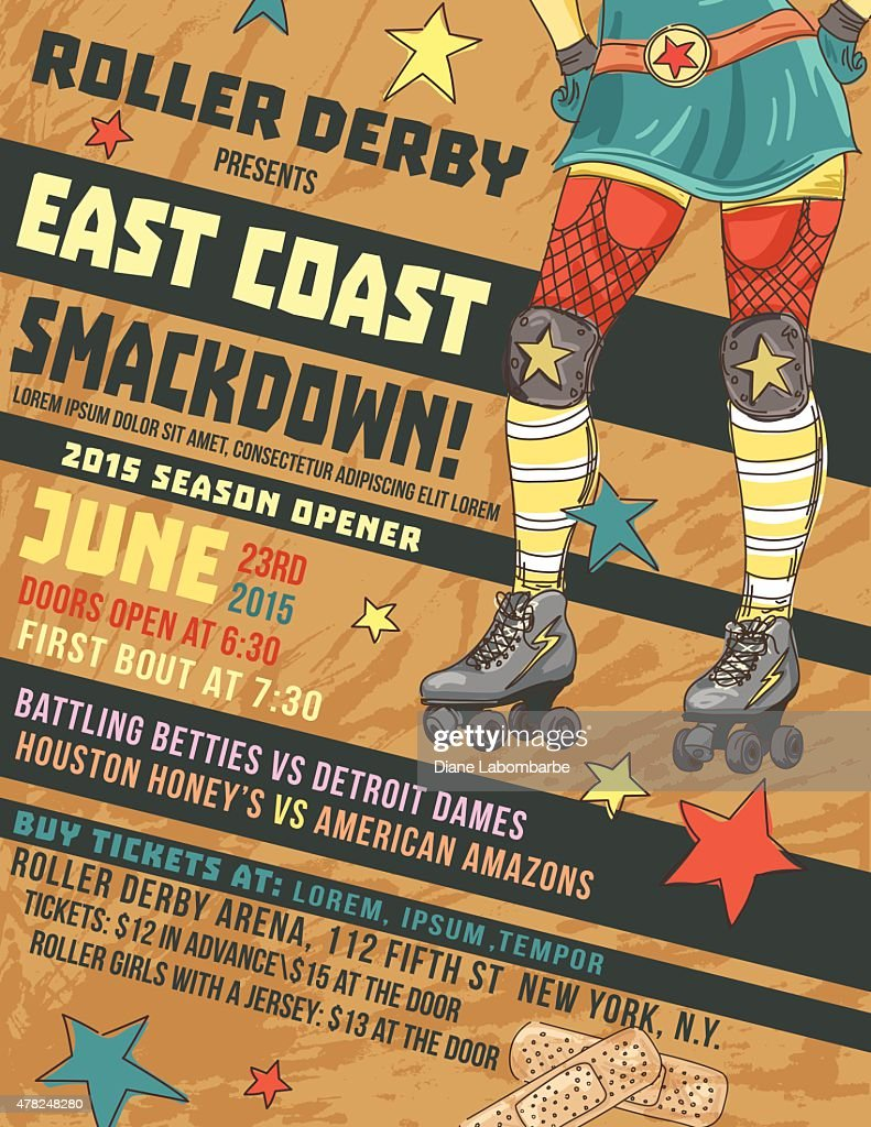 Roller Derby Event Poster Template : Vector Art