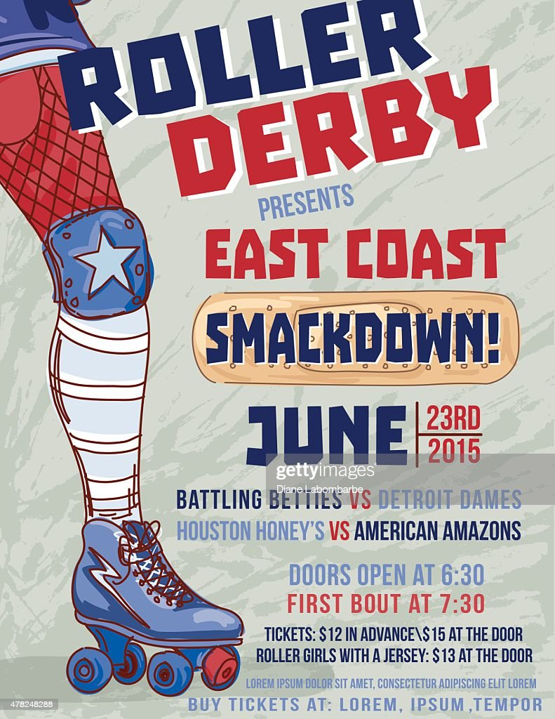 Roller Derby Event Poster Template : stock illustration