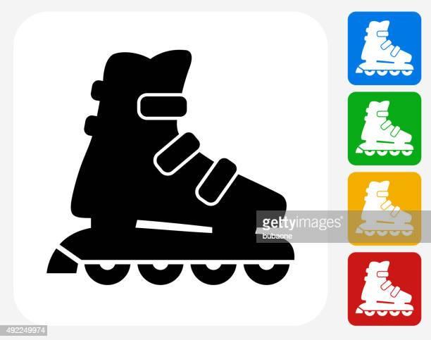 Roller Skates Icon Flat Graphic Design