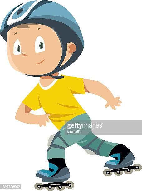 rollerblades boy - bike helmet stock illustrations, clip art, cartoons, & icons