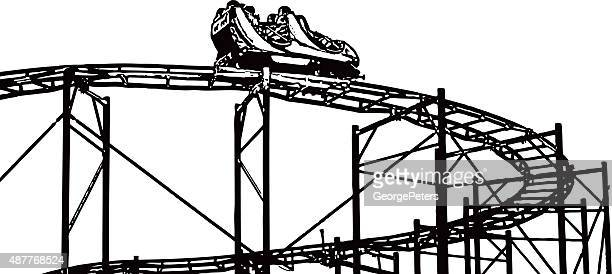 rollercoaster isolated on white - carnival ride stock illustrations, clip art, cartoons, & icons