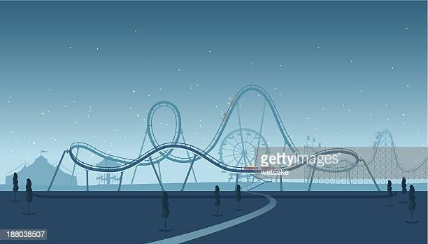 rollercoaster silhouette - fairground stock illustrations