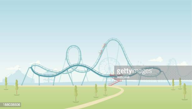 rollercoaster theme park - carnival ride stock illustrations, clip art, cartoons, & icons