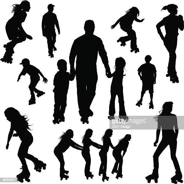 roller-skating silhouettes - roller skating stock illustrations