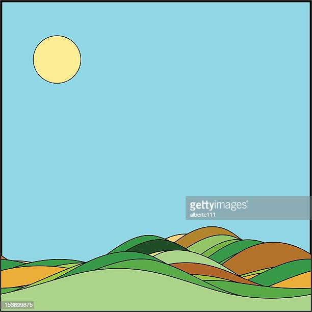 rolling hills - rolling landscape stock illustrations