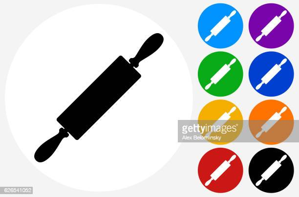 ilustrações, clipart, desenhos animados e ícones de rolling pin icon on flat color circle buttons - rolo