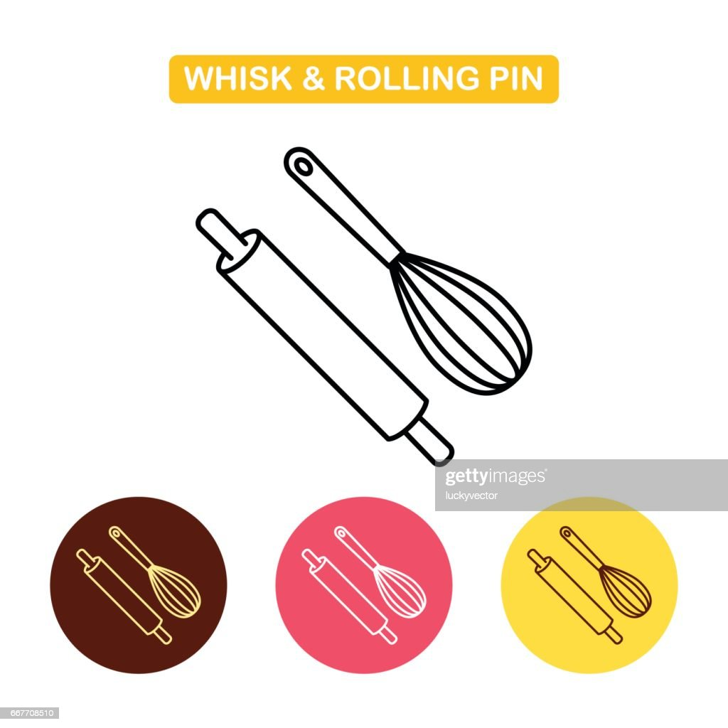 Rolling pin with whisk icon. Kitchen tools set