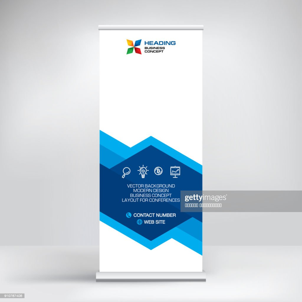 Roll-up banner, stand vector. Graphic template for posting photos and text decoration of exhibitions, conferences, seminars, advertising, business concept.