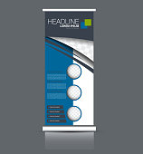 Rollup vertical banner stand template. Abstract background concept for business, education, presentation, advertisement. Editable vector illustration. Blue color.