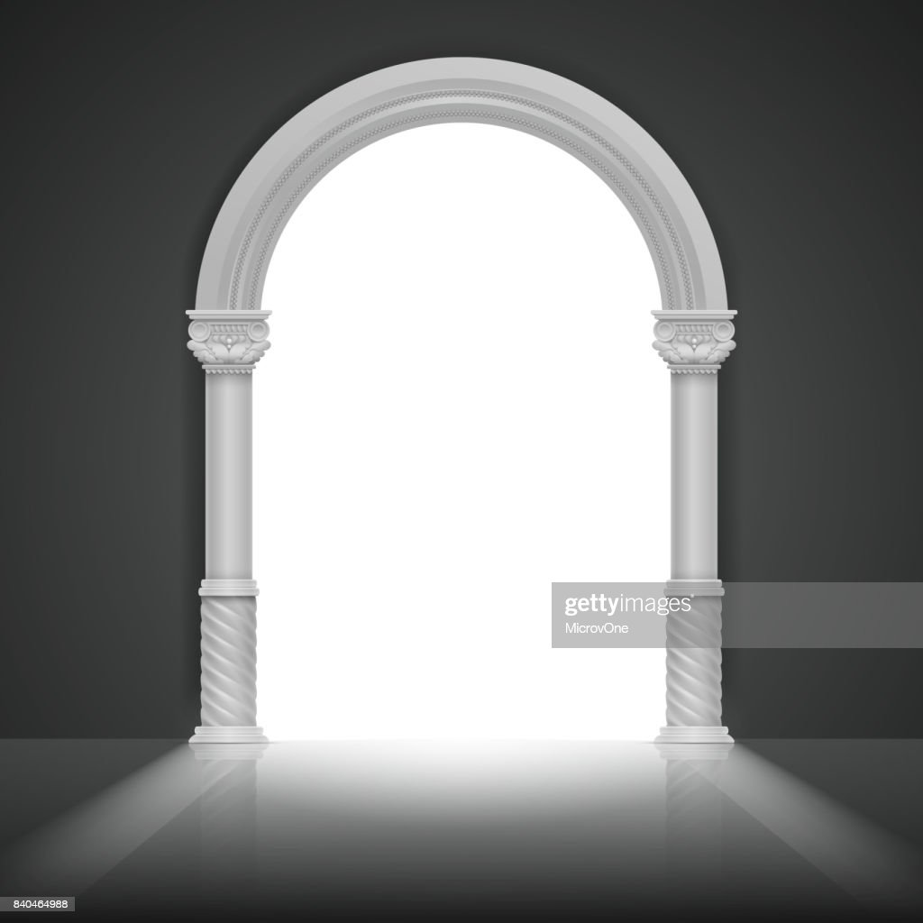 Roman arch with antique column. Vector title frame design