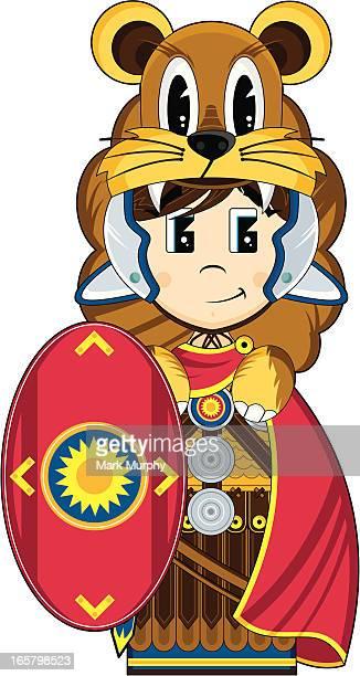 roman centurion with lion pelt & shield - animal mane stock illustrations, clip art, cartoons, & icons