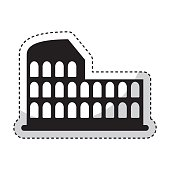 roman coliseum ruins isolated icon