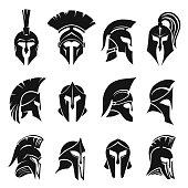 Roman gladiator helmet or ancient headgear set