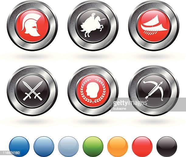 Roman military royalty free vector icon set on metallic button