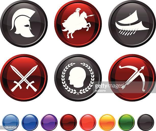 Roman military royalty free vector icon set