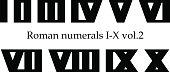 Roman numerals set I-X (1-10