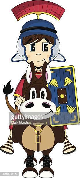 roman soldier on horse - army helmet stock illustrations, clip art, cartoons, & icons
