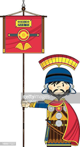 Roman Soldier with Banner Flag