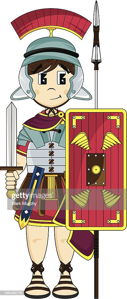 Roman Soldier With Sword Shield And Spear stock illustration - Getty