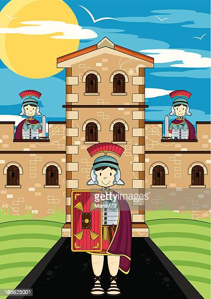 roman soldiers guarding fort tower - guarding stock illustrations