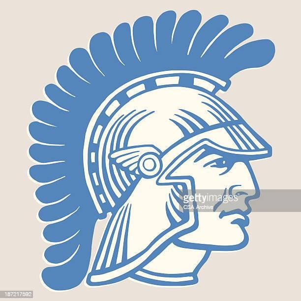 roman solider in helmet - gladiator stock illustrations, clip art, cartoons, & icons
