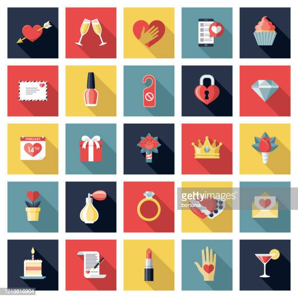 romance and dating icon set - love letter stock illustrations