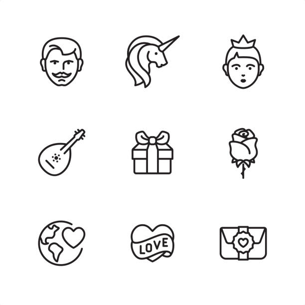 romance and love - pixel perfect outline icons - unicorn stock illustrations