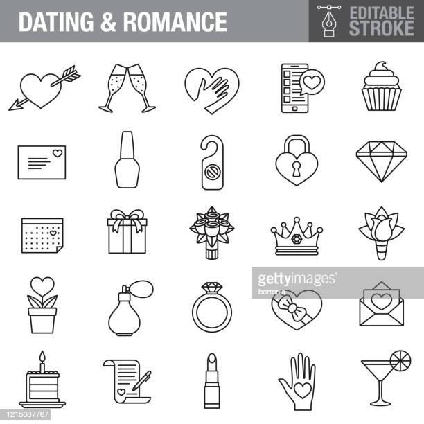 romance editable stroke icon set - bunch of flowers stock illustrations