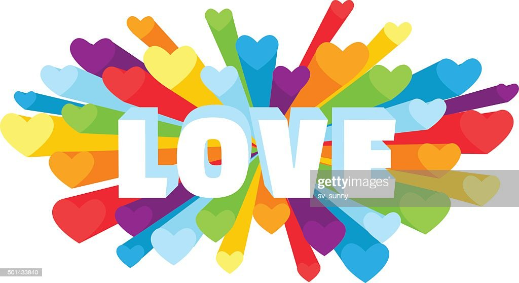 Romance heart spray LOVE greeting card  with rainbow